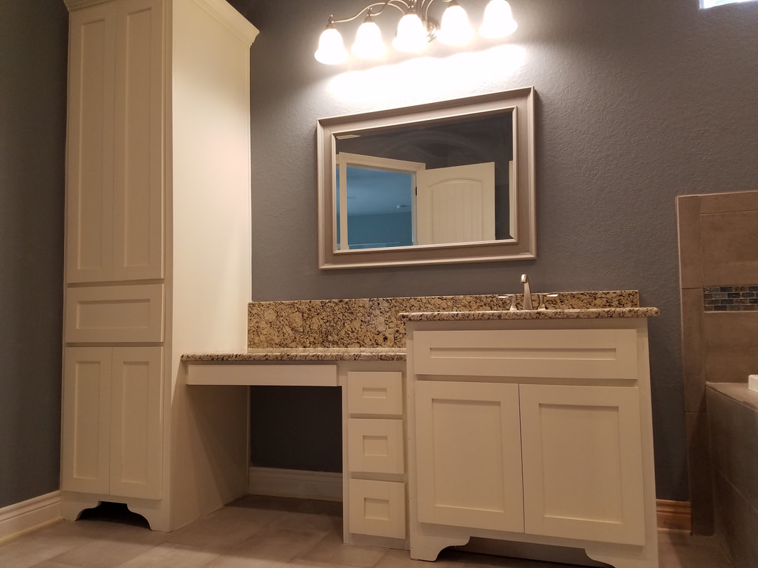 Custom Cabinets and Bathroom Vanity by Russell Rodriguez in Atascosa County