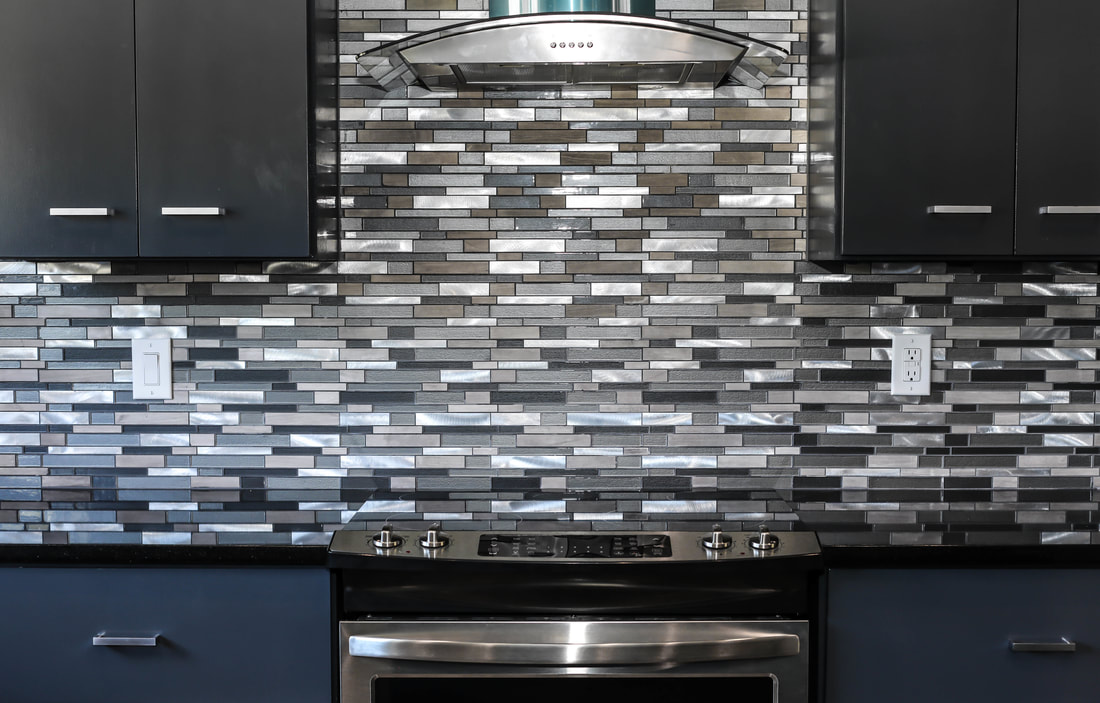 Modern tile backsplash by Domain Homecrafters